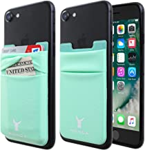 Monca Credit Card [Double Secure] Holder Stick on Wallet Discreet ID Holder Lycra Spandex Card Sleeves [Lid & Pocket] iPhone 6s 7 Samsung Galaxy s8 and Blu Smartphones (Mint)