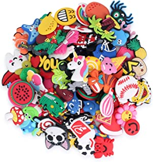 TANSWEET 100pcs PVC Different Shape Shoe Charms Fits for Croc Clog Shoes Decorations and Wristband Bracelet Kids Teens Party Gifts