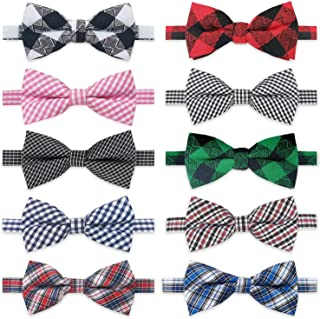 Dog Bow Ties, 10pcs KOOLMOX Dog Bowties, Dog Neck Ties with Adjustable Dog Bow Tie Collar, Plaid Puppy Bow Tie for Small M...