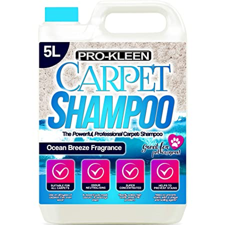 Pro-Kleen Professional Carpet & Upholstery Shampoo – Ocean Fresh Fragrance 5L - High Concentrate Cleaning Solution - Suitable for All Machines
