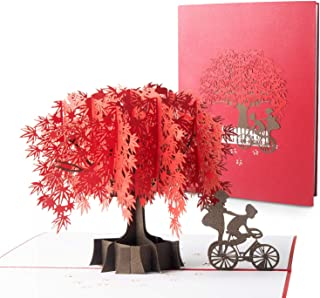 Blasoul Fall Greeting cards Maple Tree Pop Up Card, Foliage Pop Up Card 3D Couple Card Anniversary Card Birthday Card, Thanksgiving Card with Envelope Fit for Valentine's day, Birthday, Mother's Day