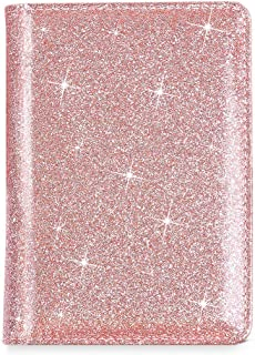 Passport Holder Case, Beikle Sparkly Protective Premium Synthetic Leather RFID Blocking Wallet Case Card Case Cover Travel Accessories for Women Girls,Glitter Rose Gold
