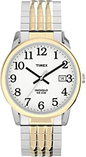 Timex Men's Easy Reader 35mm Perfect Fit Analog Quartz Stainless Steel Strap, Two-Tone, 20 Casual Watch (Model: TW2U08900JT)