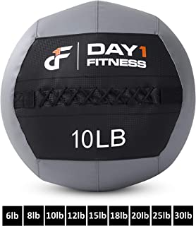 Soft Wall Medicine Ball by Day 1 Fitness AVAILABLE in 9 WEIGHTS, for Exercise, Physical Therapy, Rehab, Core Strength, Large Durable Balls for TRX, Crossfit, Floor Exercises, Stretching