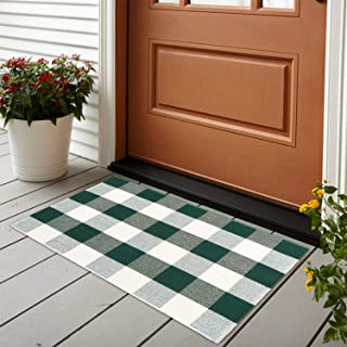 Cotton Buffalo Plaid Rug 24'' x 35'', KIMODE Green/White Hand-Woven Checkered Welcome Door Mat, Washable Floor Rugs for Outdoor Porch Kitchen Bathroom Laundry Living Room Braided Throw Mat