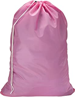 Nylon Laundry Bag - Locking Drawstring Closure and Machine Washable. These Large Bags Will Fit a Laundry Basket or Hamper and Strong Enough to Carry up to Three Loads of Clothes. (Pink)
