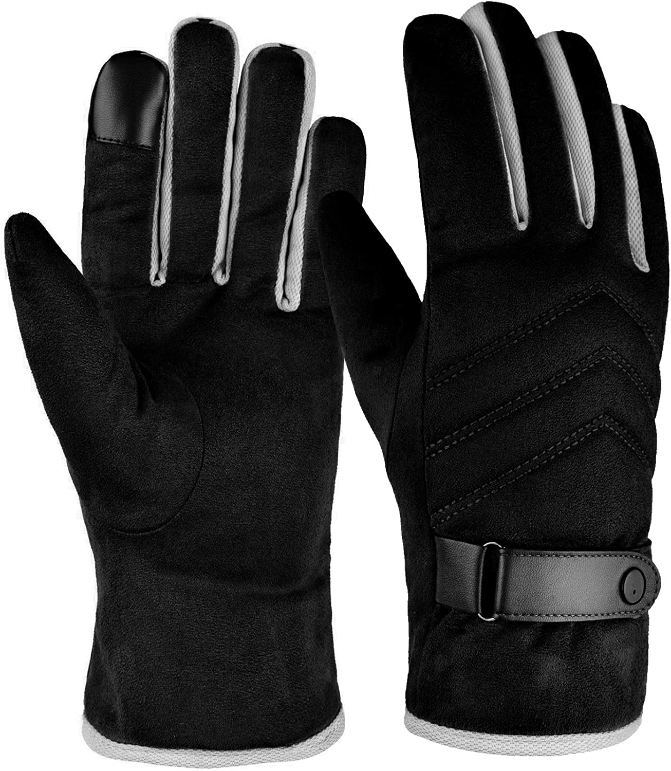 MiGoo Winter Warm Gloves for Men Women, Windproof Thermal Gloves for Cold Weather Anti-Slip Gloves for Driving Cycling Running Skiing Fishing Hiking Outdoor Sports Black