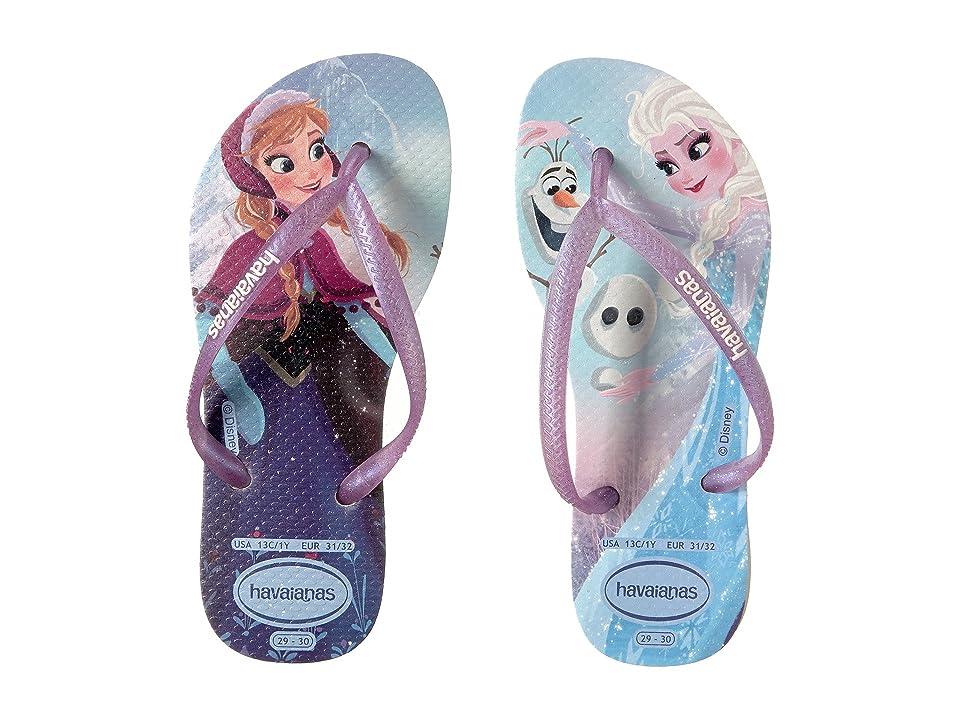 Havaianas Kids Slim Frozen Flip Flops (Toddler/Little Kid/Big Kid) (White) Girls Shoes