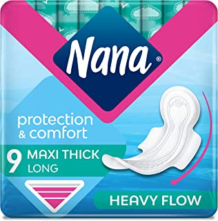 Nana Maxi Long/Super Sanitary Pads With Wings, 9 Count