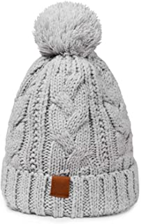 KOOLSOLY Womens Winter Pompom Beanie Hats Knit Thick Ski Cap with Warm Fleece Lined for Women