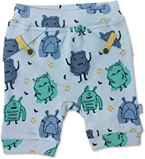 Finn + Emma Organic Cotton Pull-up Shorts for Baby Boy or Girl - Monsters, 3-6 Months