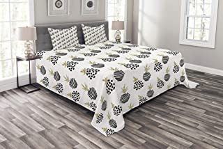 Lunarable Pineapple Bedspread, Abstract Tropical Hawaiian Fruit Pattern Doodle Style Stripe and Dots, Decorative Quilted 3 Piece Coverlet Set with 2 Pillow Shams, Queen Size, Yellow White