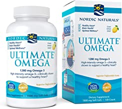 Nordic Naturals, Ultimate Omega, Fish Oil Supplement with Omega-3 DHA and EPA, Supports Heart Health and Brain Development, Burpless Lemon Flavor, (60 servings) 120 soft gels