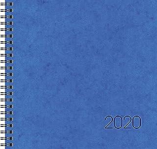 BRUNNEN Buchkalender Quadratkalender groß Modell 766, 2 Seiten = 1 Woche, 210 x 205 mm, Karton-Einband blau, Kalendarium 2019, Wire-O-Bindung (107660130)