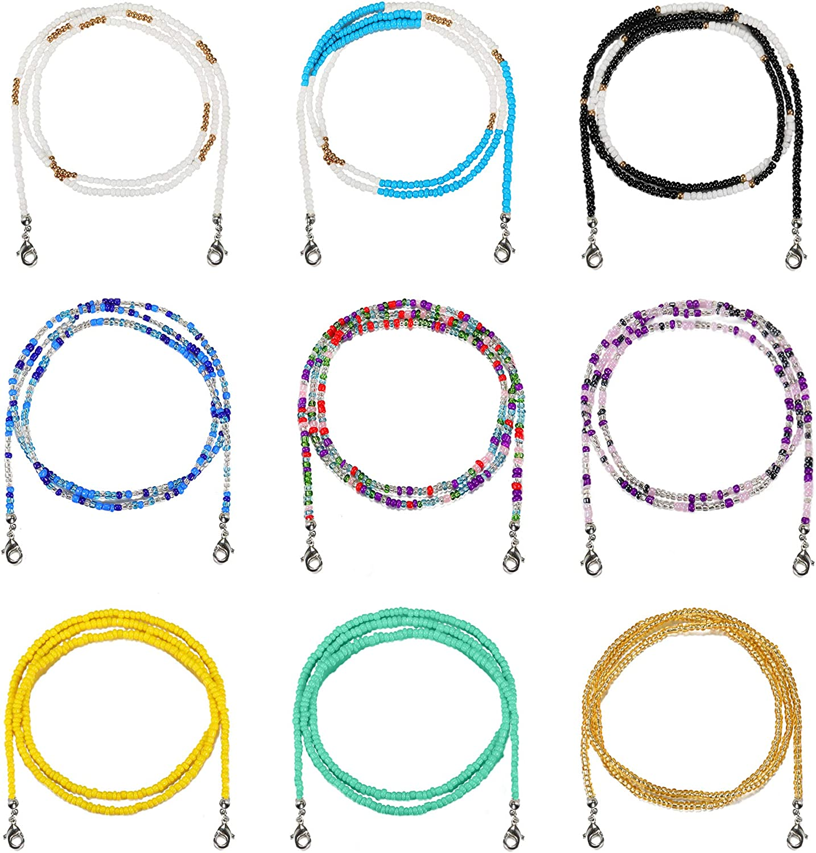 SHIWE 9PCS Bead Face Mask Lanyard for Women Men Colorful Mask Holder Chain Mask Necklace Strap
