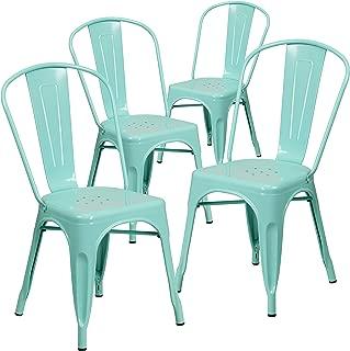 Flash Furniture 4 Pk. Mint Green Metal Indoor-Outdoor Stackable Chair -