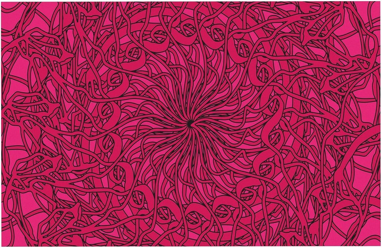 KESS InHouse JS3001ADM02 Patternmuse Mandala Spin Berry Pink Geometric Dog Place Mat, 24  x 15