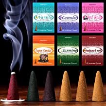 Maitys 90 Pieces 6 Various Incense Cones Natural Scents Incense Burner with Small Iron Holders, 15 Cones Each Scent, Total...