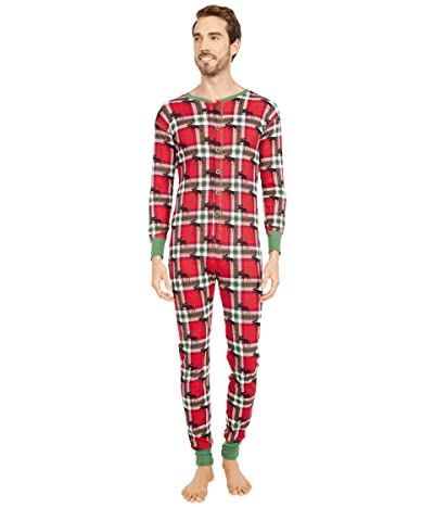 Little Blue House by Hatley Adult Union Suit One-Piece Holiday Moose on Plaid (Red) Pajama Sets