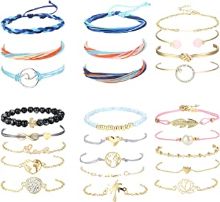 19-25Pcs Layered Wave Strand Bracelet Set Women Girls Handmade Boho Bracelet Adjustable Friendship Bracelet