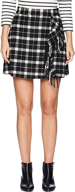 Broome Street Rustic Plaid Fringe Skirt