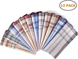 Men'S Cotton Handkerchiefs, Ohuhu 12 Pack 100% Pure Cotton 4 Color Pocket Square Hankies/Pocket Handkerchiefs For Men, Great Gift For Father's Day