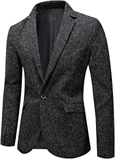 YOUTHUP Mens Slim Fit Blazer Casual Solid Color Dress Jacket 1 Button Suit Jackets