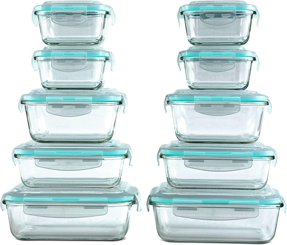 20 Piece Glass Food Storage Containers Set With Snap Lock Lids Safe For Microwave Oven Dishwasher Freezer BPA Free Airtight Leakproof
