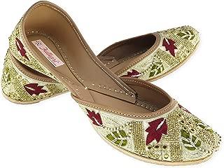 Fulkari Women's Mimosa Genuine Soft Leather Jutis | Bite and Pinch Free Juti | Punjabi Formal Jutti Flat Ladies Mojari | Bridal Ethnic Flats |