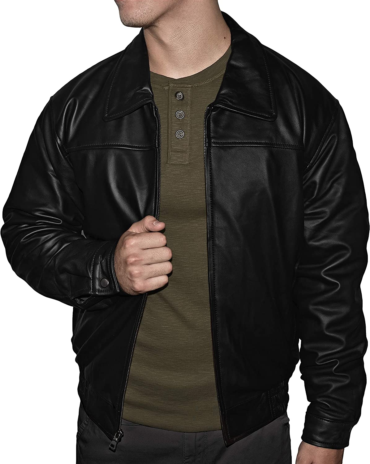 Victory Outfitters Men's Genuine Quilted Lined Leather Banded Bottom Jacket