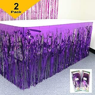 GIFTEXPRESS Metallic Purple Foil Fringe Table Skirts/Tinsel Foil Table Skirt/Party Table Skirt (Purple, 2-pack)