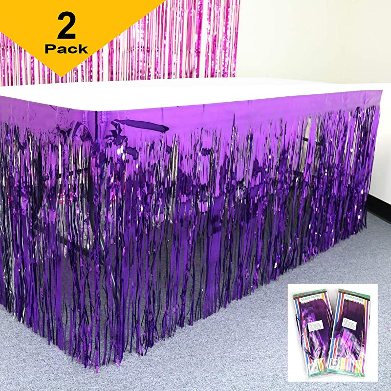 GIFTEXPRESS Set Of 2 Purple Metallic Fringe Table Skirt Purple Foil Fringe Table Skirt Tinsel Table Skirt Party Table Skirt St Patrict Table Skirt