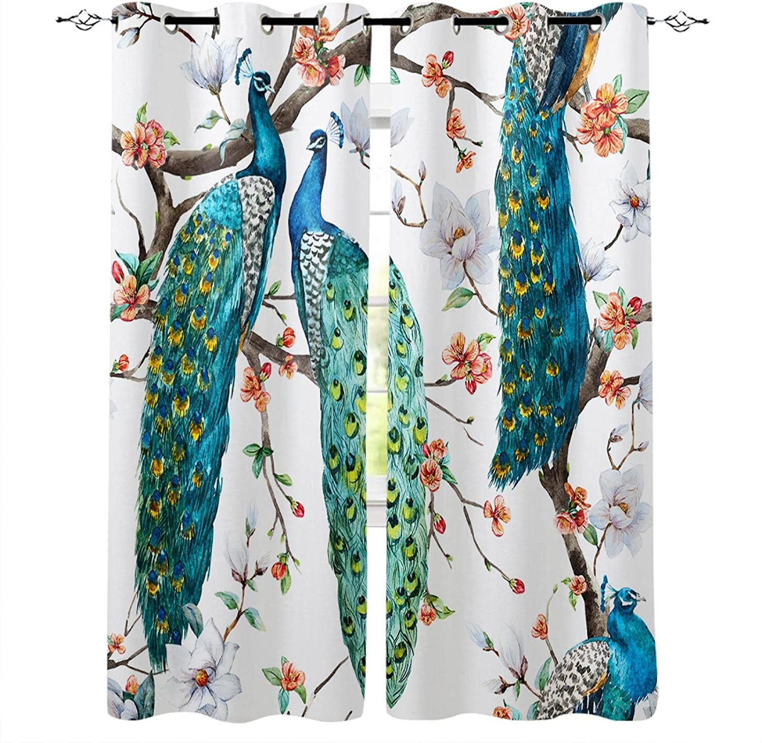 ZGCLHHM Blackout Curtains for Now Max 65% OFF free shipping Bedroom Animal Flower Blue Peacock