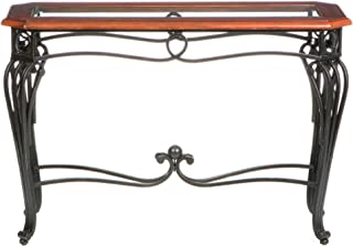 Prentice Sofa Console Table - Dark Cherry w/ Black Metal Frame - Glass Top