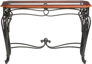 Prentice Sofa Console Table - Dark Cherry w/ Black Metal Frame - Glass Top