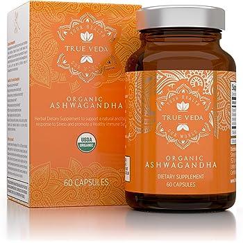 Organic Ashwagandha Vegetarian Capsules | Certified USDA Organic | 100% Natural Herbal Supplement | Ayurveda Formula Known as Withania Somnifera | KSM-66 | 60 Easy Swallow Pills