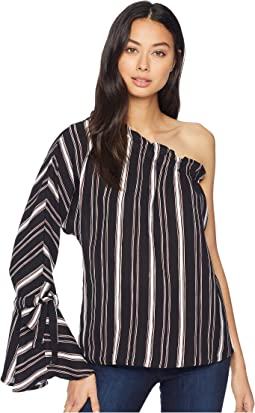 Stripe One Shoulder Top