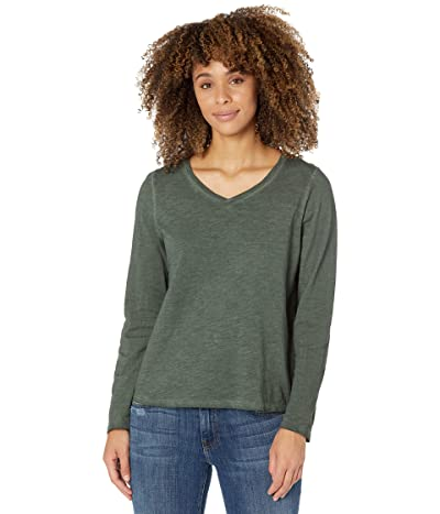 Eileen Fisher Long Sleeve V-Neck Long Sleeve Top in Pigment Dyed Slubby Organic Cotton