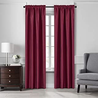 """Elrene Home Fashions Colette Faux Silk Blackout Window Curtain Panel, 52"""" x 95"""" (1, Red"""
