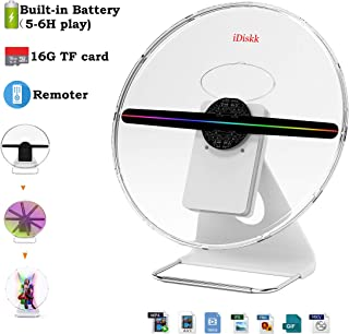 IDISKK 30CM Portable 3D Hologram Fan Holographic Display Projector Photo and 512P HD Video Advertising Projector Fan for Shops Office Business Home