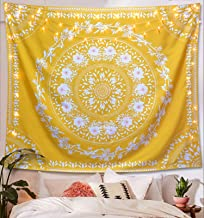 Lifeel Yellow Bohemian Tapestry Wall Hanging, Mandala Floral Medallion Hippie Tapestry with White Aesthetic Wreath Design, Gold Wall Decor Blanket for Bedroom Home Dorm,Small 50×60 inches