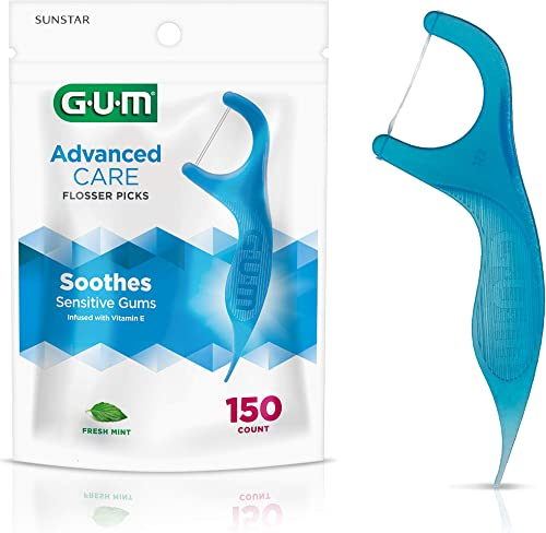 Sunstar 888JC GUM Advanced Care Flossers, Fresh Mint, Vitamin E & Fluoride, 150 Count (packaging may vary)