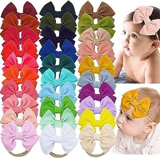 "ALinmo 30 Colors Baby Girls Headbands 4.5"" Hair Bow Nylon Band Bows Headbands Hair Accessories for Newborns Baby Girls Inf..."