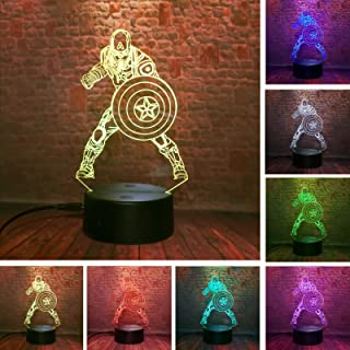 Marvel Comics Avengers League Captain America - 3D Led Lamp Bedroom Family Personalized Hot Decorative - 7 Colors Smart Touch Control - Child Kids Baby Favor Presents Toys - for Xmas Party Birthday