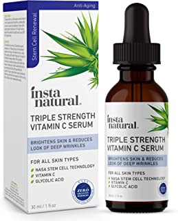 Best Vitamin C Face Serum - Triple Strength Anti Aging, Wrinkle & Brightening Facial Serum - Antioxidant Rich, Hydrating, Softening & Even Skin Tone Treatment - Made With Niacinamide & Glycolic Acid - 1 oz Review
