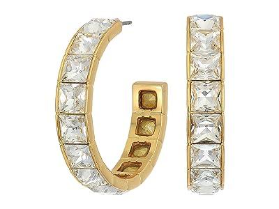 J.Crew Princess Square Hoop Earrings (Crystal) Earring