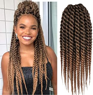 Karida 6pcs 18inch Havana Twist Crochet Hair Havana Mambo Twist Crochet Braids Jumbo Senegalese Twist Synthetic Crochet Braiding Hair Extensions 12 Roots/Pack (T1B/27)