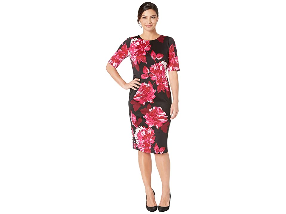 London Times Short Sleeve Fitted Dress (Black/Pink) Women