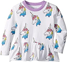 Chaser Kids - Extra Soft Unicorn Peplum Tee (Toddler/Little Kids)