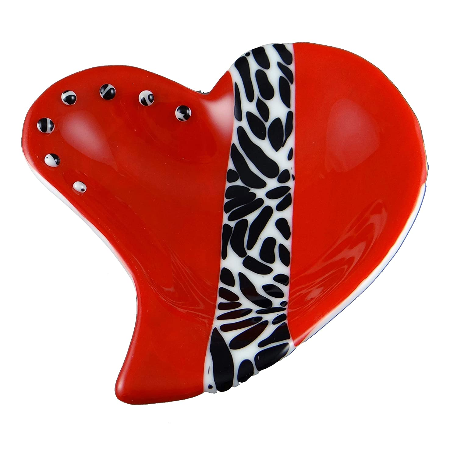 Handcrafted Fused Glass Ranking TOP18 Red Bowl Heart Long Beach Mall Zebra